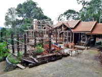 Thai style House unfinished for Sale with Land 3 Rai in Maeon Chiang Mai Thailand .