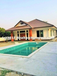 Single Storey House with Swimming Pool for Sale in Sanpatong, Chiangmai, Thailand.