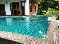 Modern Lanna style house with swimming for rent with lake view in Mae Rim, Chiangmai, Thailand.